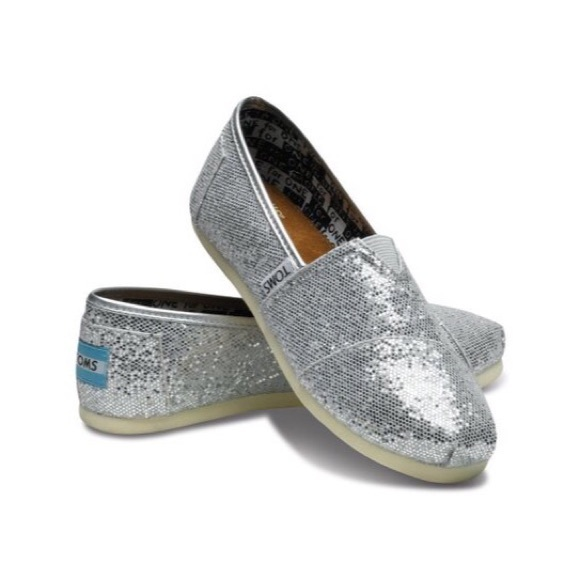 Toms Kids Silver Glitter Slip Ons